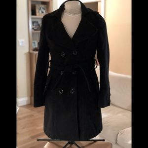 FOREVER 21 SOFT THICK BLACK PEACOAT SZ S BLACK